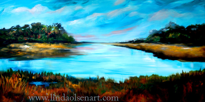 Lazy Coastal River48x24