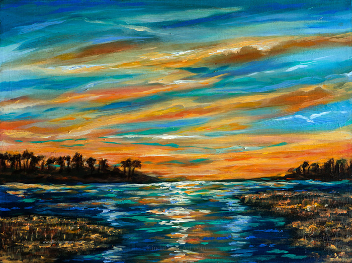 Sunset on the River 20x16
