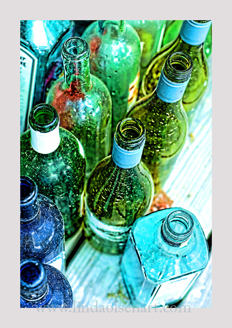 "These bottles will be broken and tumbled to make ""seaglass""."