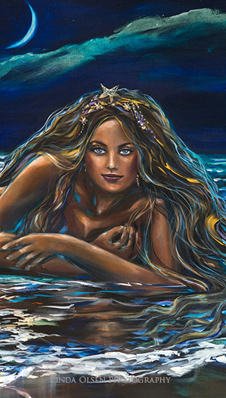 "Sometimes, it is hard to show a painting when its very large so I cropped a section to show you the face. The original is 48"" x 36"" and called ""Under a Crescent Moon""."