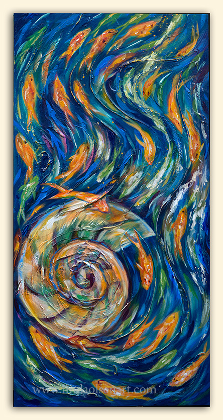 """Volute"" is a standard Gallery wrap 18x36"". It has a lot of layers of paints, varnishes, plaster, metallics. Its about the natural forces of nature with its spirals and ebbs and flows."