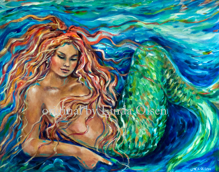 "A lovely couple from Arkansas made an appointment to meet me and to purchase a mermaid painting. They actually drove from Arkansas and ended up with purchasing a couple of originals. Luckily they had a large vehicle that fit the 36x60"" painting. I was so thrilled with the sale and also really enjoyed spending time with me. They had bought a painting several years ago from me but said that seeing the originals up close and personal really made a difference. I professionally photograph my paintings but there is nothing like seeing a painting in real life that shows the luminosity, the brush strokes and all. Thank you so much Kim and JD."