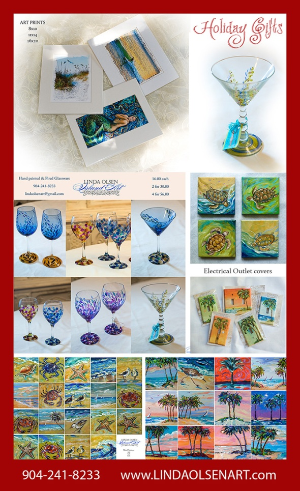 As an artist, I do more than paint large paintings and create photographic illustrations for galleries. For years I have painted and fired glassware, painted electrical outlet covers, created magnets with artistic images and also create mini original paintings. These all make excellent gifts which are more meaningful to the person you are giving to. FOr the next week, I have reduced prices on all of these items and can ship anywhere. We take all major credit cards for your convenience. Just give me a call at 904-241-8233 or email at lindaolsenart@gmail.com if interested in more information. Happy Holidays everyone!!!