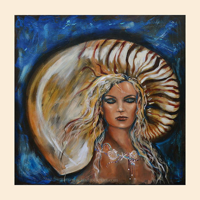 "This gallery wrap painting of a portrait  of an underwater diva is called ""All Dressed Up"". It is 30x30"""