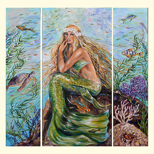 "This large mermaid painting was just completed and I am happy with how it evolved. The center panel is 24x48"" but I felt it was crowded so I ordered two additional canvases 12x48"" to flank the sides. It took a month more of painting and adding sea creatures to complete. The next stage is several coats of varnish. She is called ""Sunshine"" because with her crown of coral and seashells, she looks a bit like a hippie from the 70's and what better  name than ""Sunshine"" ?"