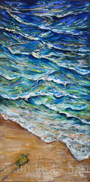 """Dash to the Tides"" is 18x36 gallery wrap canvas and has a lot of layered paint and texture. The waves have some plaster underneath the paint to actually have some 3-d effects. This painitng will be displayed this month at Players by the Sea theater in Jacksonville Beach."