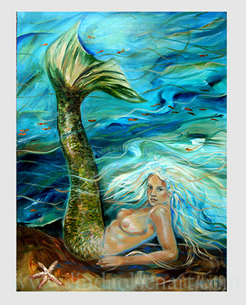 "This original painting was created years ago during a great storm, hurricane Francis. Recently, I reworked some areas and finished her. I was trying to convey how a mermaid underwater would be reacting in large storms. WIth her tail swishing the currents and obviously her hair is being tosseled around from the moving tides. This mermaid painting is  30x40""."