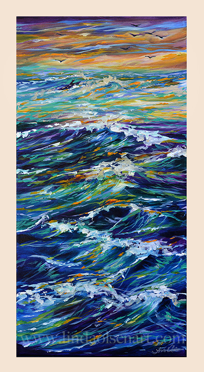 """Paddling Out at Sunset"" is a newly completed painting that I had started 2 weeks ago. My studio is cold this time of year since I have air conditioning in there but no heat. So this weekend I completed it in the warmth of the house. There is a small surfer paddling out  between the rough waves at sunset. Its only 15x30"" and a gallery wrap. I am thinking of doing another similar one at 40x30"". Not sure if it will be more horizontal or vertical. I went ahead and bought the canvas and the white is staring me in the face begging me to start throwing that paint down!! It would make a nice cell phone cover. My website offers this in case you are interested."