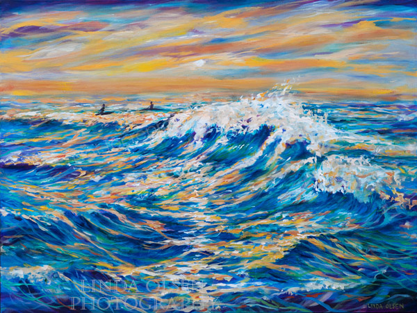 """Waiting for the Last Wave"" was completed this weekend. After watching some of the huge surf on a LIVE cam at Santa Cruz, California, working on this surf painting was inspired. It is similar to the last painting of the surf but much larger. This one is 40x30"" gallery wrap."