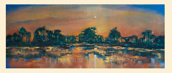 "This was actually the first painting I worked on during my Tybee Island retreat. The southern landscape is so beautiful and the colors at sunset mirrored on the river, so inspiring. This painting is called ""Fire, Wood and Water"" and is 40x16"" and is a thick gallery wrap. Get in touch with me if interested and I will give you the particulars."