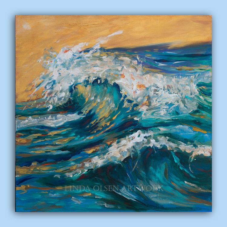 """Golden sky"" 20x20""- a golden light shoots thru the curl of the surf."