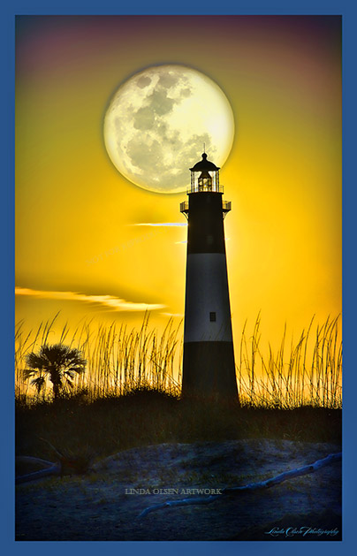 I photographed the Tybee Island lighthouse while walking on the beach at sunset. Actually, I positioned the sun behind the lighthouse but replaced it with the moon digitally. Artist prerogative.