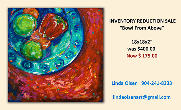 For those of you who have been to my studio, know that I have a storage issue so once a month, I will have an inventory reduction sale and list information on my blog. Sizes and prices. Just email me to inquire. We can ship anywhere.