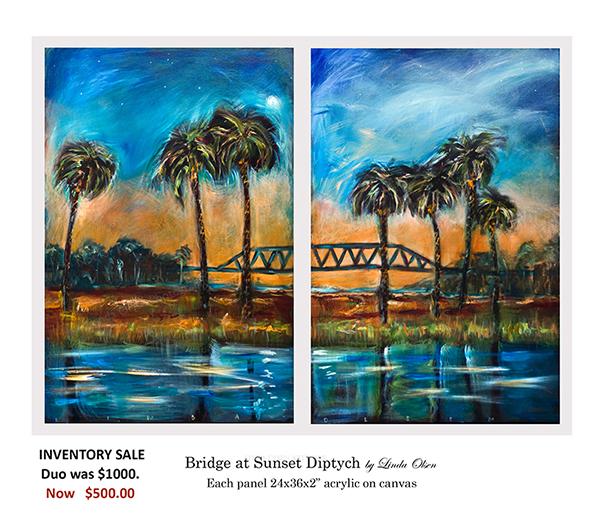 Bridge at Sunset diptych sale