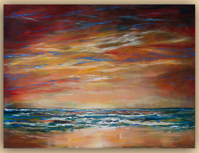 """Firey Sky"" is 40x30"" gallery wrap so no frame necessary."