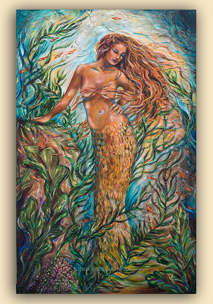 """Isabella"" is 36x48 so took longer than expected to complete. I had put some flexible plaster over the canvas before gessoeing which actually made it more difficult to paint details over the 3d ridges of texture. However, the texture and metallic paint touches offer more interest and a bit of abstraction. I had wanted to do a Latino mermaid for a while so here she is. Up until today, she was nude. Do you think I should cover her breasts more since she is posing to the front?"