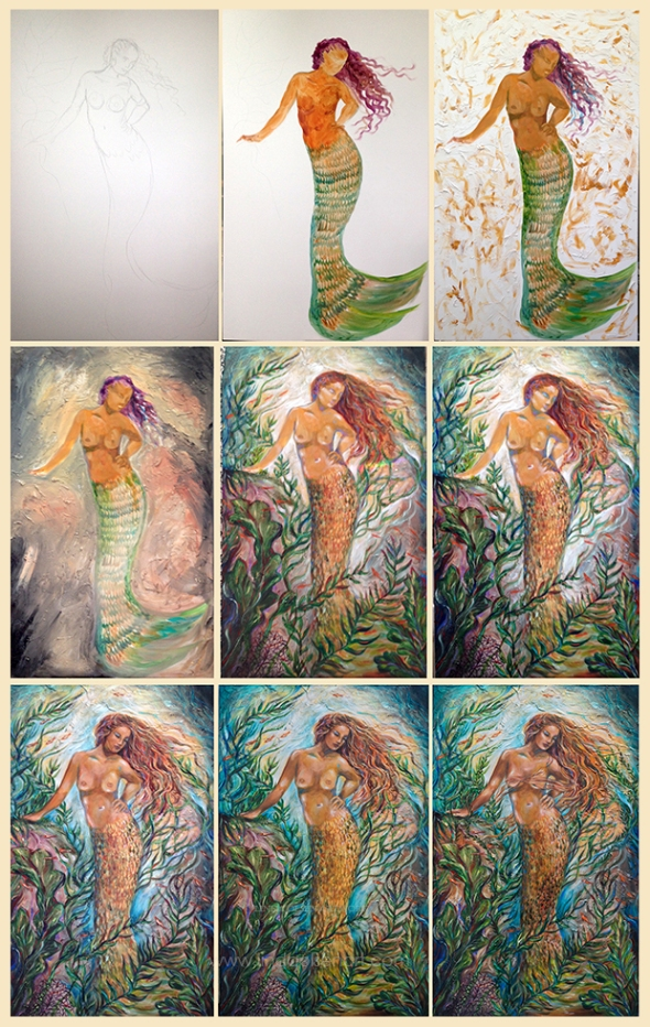 "I thought this might be interesting of showing the progression of how I created ""Isabella"" I actually worked on this for several months off and on and finally came to completion. It is 48x36"""