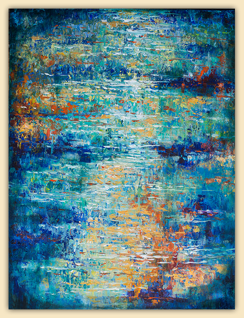 """Nelson and I have had three days of loud noise in the house because we are having a new roof installed. It had been leaking for a while in a couple areas so we couldn't put it off any longer. So I retreated to the painting studio for much of the week. This new abstract is called """" Reflections Dancing on Water"""" is 30x40"""".  Gallery 725 is having an upcoming show called Water, Fire and Wood so if you have been following my blog, you will notice many new water paintings which I have been working hard on for the show. Opening is next Friday."""