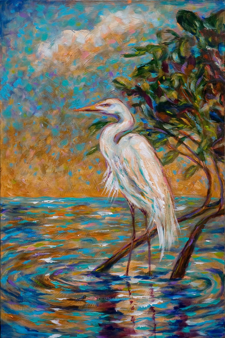 Three older paintings involving southern landscapes and cranes, egrets and herons are available for sale through Etsy or directly. Aged Crane is professionally framed and the other two are gallery wraps needing no frame. Our southern landscapes are so lovely.