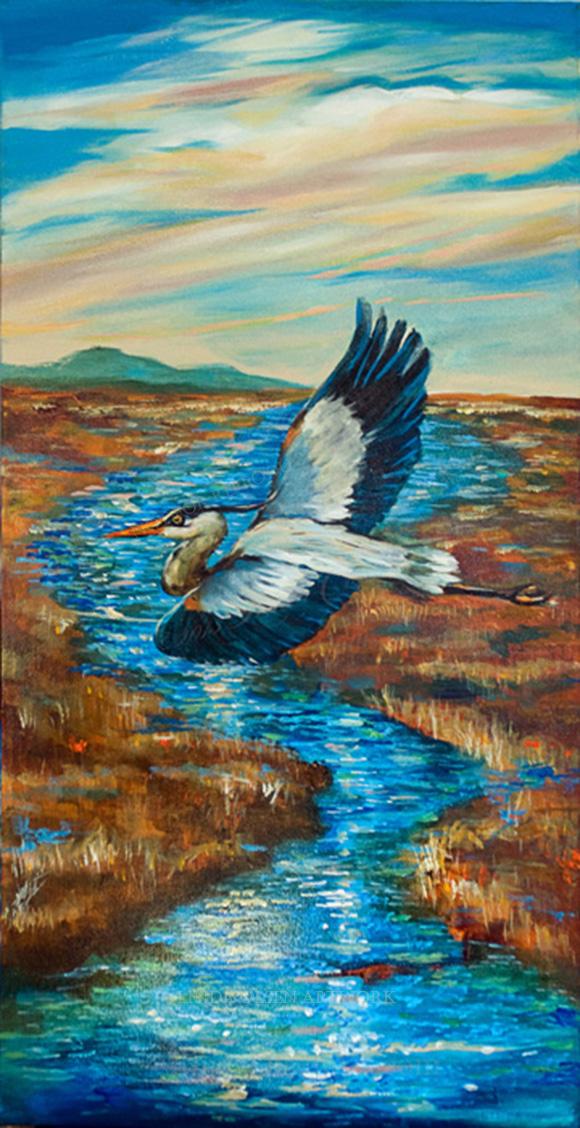 Blue Heron 18x36