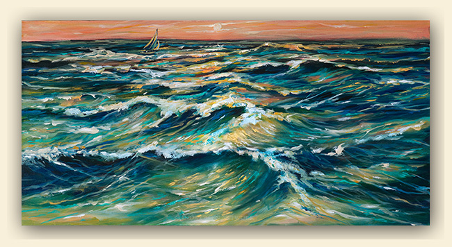 """Distant Sail at Sunset"" was completed on Easter Sunday and is 30x15x1.5"". I am exploring the theme of water, waves and ocean tides for the last three months and plan on continuing with this theme for a while. There is also a tryptich that is 90x40"" of ocean waves that I have been struggling with for a month. Water, being translucent is more difficult than I expected when starting in on this theme. There are so many variables and tints that are necessary to create the fluid feel as well as the power of the waves. Growing up around the Pacific ocean, sailing and swimming, I have an intense respect for the oceans."