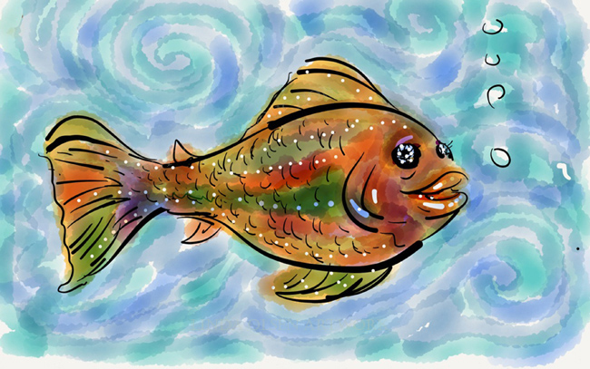 Paper is a free app that is for iPAD users. It costs a bit extra for a few extras (under $5.00) and the PENCIL is $50.00 but offers more diverse textures. The fish with the white background was the first one I drew with just my finger.