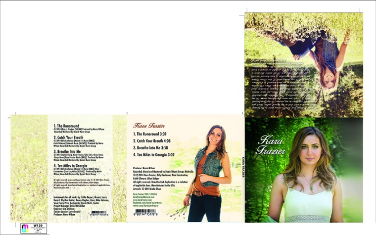 I was a graphic designer for nearly thirty years and still do this for clients. For young country singer/songwriter, Kara Frazier, I created this folder design for her first cd. We did the photography at a local nature park and produced the design artwork as well. Check her out! She is wonderful and so talented.