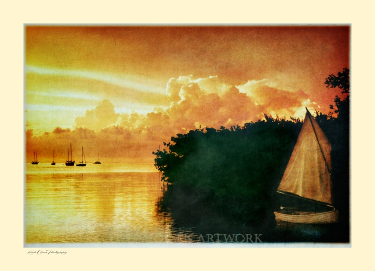 This was taken a couple of decades ago with my film camera. I can remember the evening in Islamorada, watching the sun go down and having a beer. Its always been one of my favorite shots but I just had to play with the image recently and enhance it. Some folks think that altering a color photograph has no value but I disagree. I think it offers a new creative feeling. What do you think?