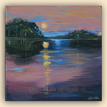 Twilight on the River 8x8