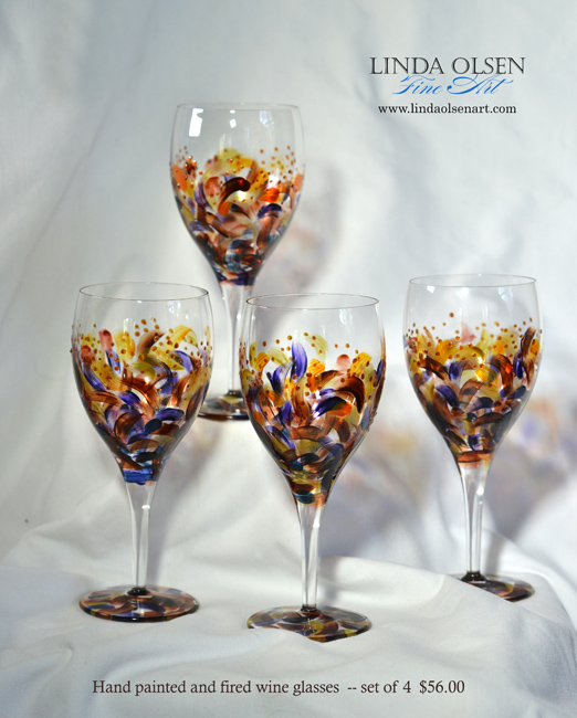 Festive hand painted wine and martini glasses make a great gift...especially for a special friend. Place them in a basket with a bottle of wine. These are all fired and the paint will not come off. Affordable and festive. lindaolsenart@gmail.com is the email you can write to order yours. We can ship.