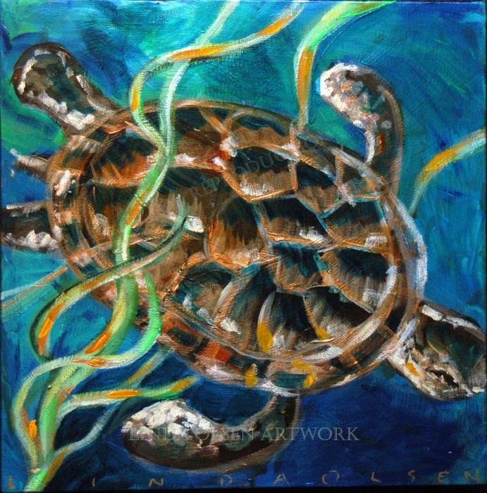 Sea Turtle in kelp10x10
