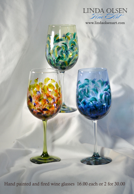 tall painted wine