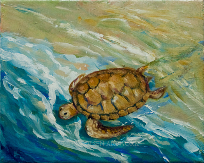 Turtle to sea10x8