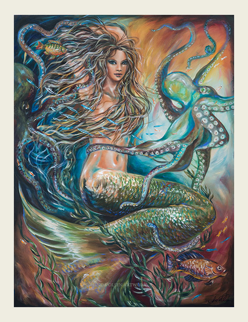 """Entangled"" is 36x48 gallery wrap just completed. Its been hard to come up with a title because the expression on this siren's face is that of surprise (like she was caught dancing with the octopus) but I thought ""Entangled"" was a better title since it can have many meanings. Her face changed many times as I worked on her for weeks and at one point she was looking off to the right but I wanted her expression to be more mysterious. Sometimes in life, we are pulled in every direction with the responsibilities of family and work..we tend to smile through the chaos of daily life as the fish (or other distractions) saunter by. The size of this painting is fairly large so will go nicely in a living room, or dining area."