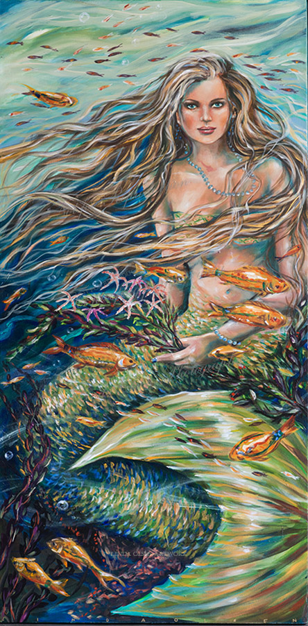 "Several years ago, I did a painting called ""Nicole le Mer"" and thought it was completed. This week, I revisted it, put clear gesso on all of it and then repainted it. First of all, I thought her skin was too tan and needed to be paler..afterall, under the sea, mermaids do not bask in the sun. Also, I wanted more movement and fish to the painting. I thought she needed some jewelry and instead of holding seaweed in her hand, I thought that she could be holding a bouquet of starfish flowers. It was a fun two days of tweeking and repainting until I felt that it was finally completed. I did take a few snapshots of the progression of improvements. I teach seniors to paint and have a few students who ask me ""Is it done?. ONly the artist can answer that and frankly, sometimes the artist is just DONE. Revisiting older paintings is usually a good thing to do, especially when you are not thrilled with the DONE painting. Put it aside and wait until you are inspired again. What do you think? It is 24x48"" gallery wrap so no frame is necessary since the mermaid painting continues on the 1.5"" edges."