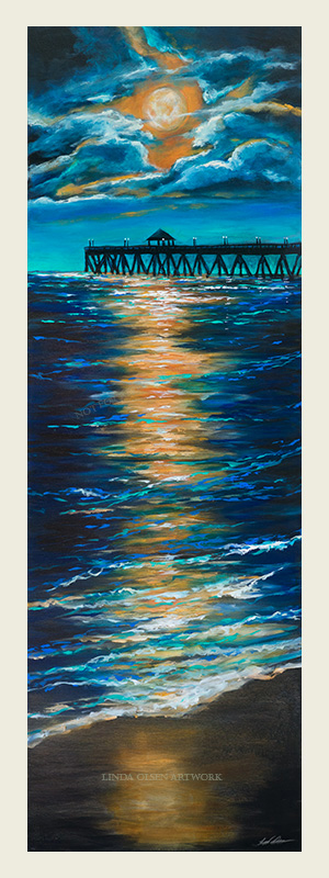 "I had completed a ocean landscape like this a couple years ago and it has hung on my wall in the entryway. I always enjoyed the feeling of watching a full moon break through clouds at the ocean and wanted to put more perspective to the landscape. So I put the pier and moonlight reflecting on the water. My style is evolving to be more expressionistic and  instead of blending my brushstrokes for more realism, I am leaving the little globs of paint with the bright highlights as accents. This painting is a gallery wrap 1.5"" thick so is not intended to have a frame. It is 20"" by 60"" tall and is for sale. It is not at a gallery  so make an appointment to come by to see in person. ""Pier in the Moonlight""."
