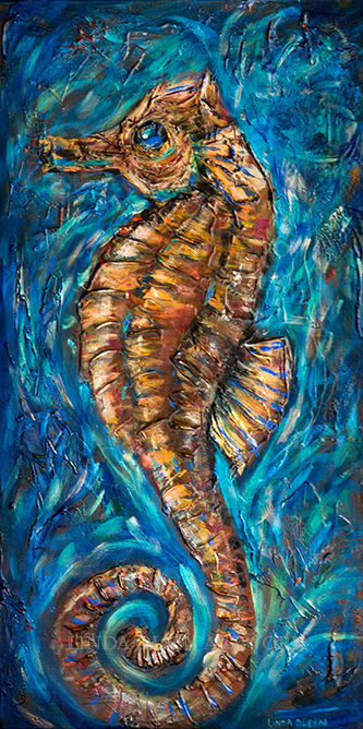 """Seahorse"" is a 15x30"" textured painting with a lot of phalo blues and golds. I had worked on it months ago and thought it was done but the more I looked at it, I felt it needed some tweeks. Hope you like it."