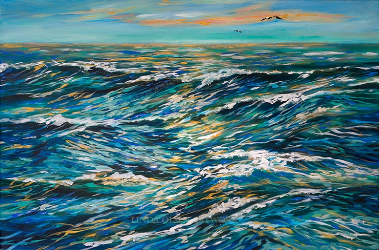 """This painting has been in the works for over a month and was started at my classes that I teach at the Senior Activity Center in Neptune Beach. We did a month and a half of exploring waves and water and this is my take on some rough afternoon seas. The acrylic gallery wrap painting is 30x20"""" and for sale. It would look nice over a fireplace or in a smaller room. Email me at lindaolsenart@gmail.com for information on pricing. Obviously, I am passionate about the ocean and I tend to do a lot of paintings using Phalo Blue. If you look closely, there are nearly every color in the waves."""