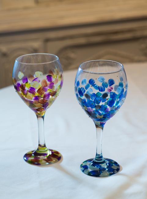 wine goblets blue