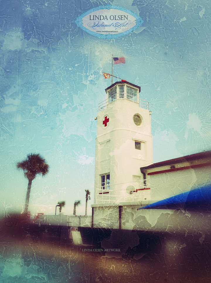 This is the backside of the historic Jacksonville Beaches Red Cross Lifeguard station. I altered the photograph that I took to add a vintage look.