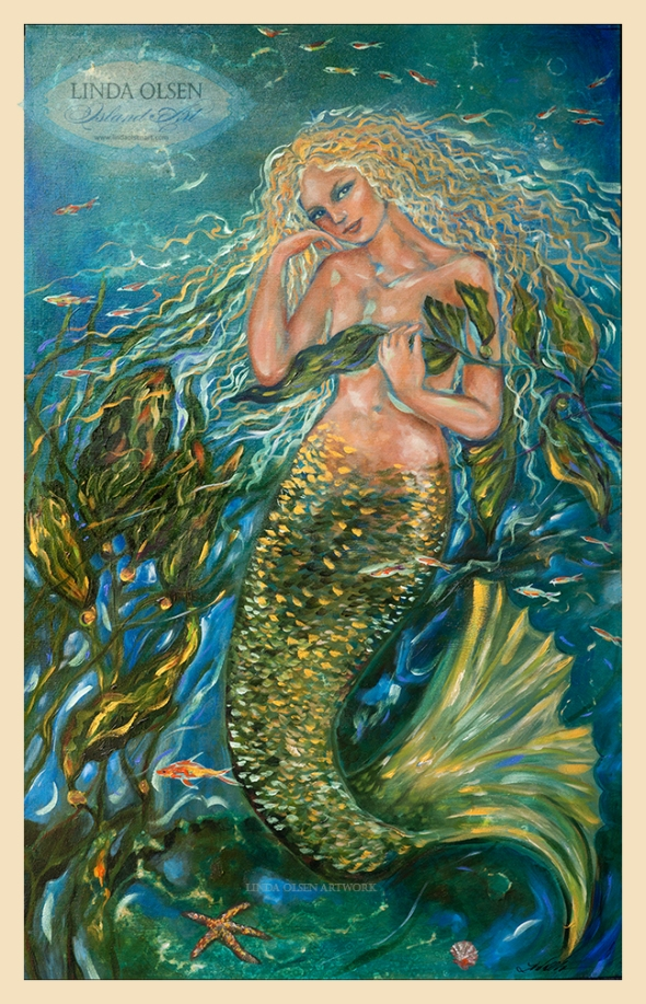 """Midsummer Dream II"" was completed after years in the hopper. It is 30x48"" and has metallic paint accents so when viewed, it shimmers delightfully. The background was painted with an acrylic wash with salt forming interesting shapes. This young mermaid has a bit of shyness as she demurely covers her breast with a seaweed leaf. Small fish swim around as she hovers by a reef. Prints are available through www.linda.olsen-artistwebsites.com or by request. Original painting is also for sale."