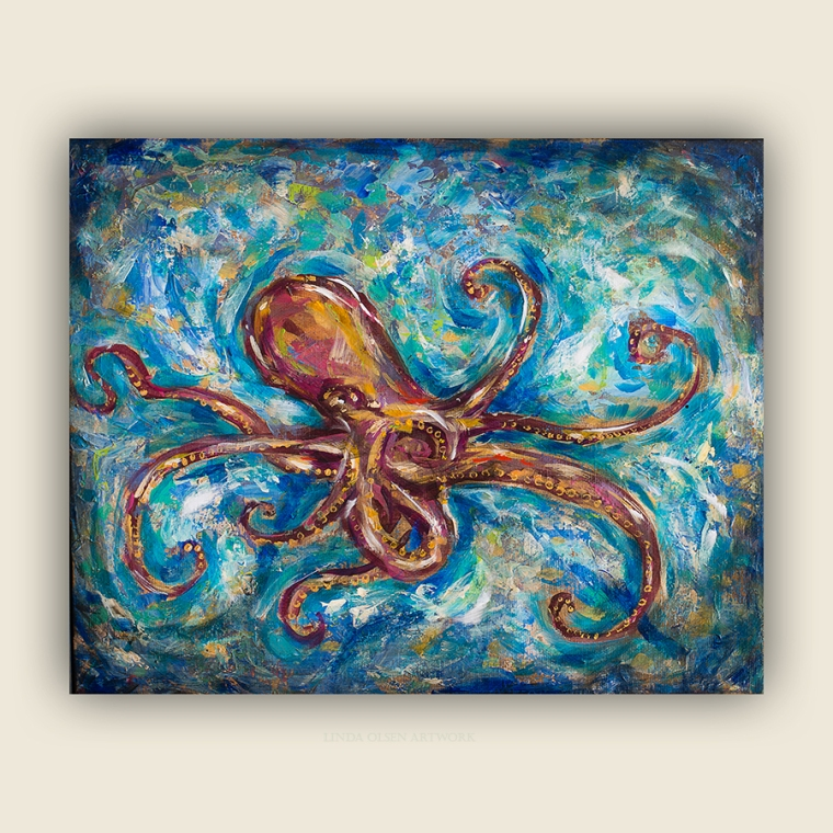 """This week while I had some moments free from my computer and camera, I finished up on several small paintings with a sealife theme. The center one is 8x8"""", the blue seahorse is 5x5"""" and the Octopus Salsa painting is 20x16""""."""