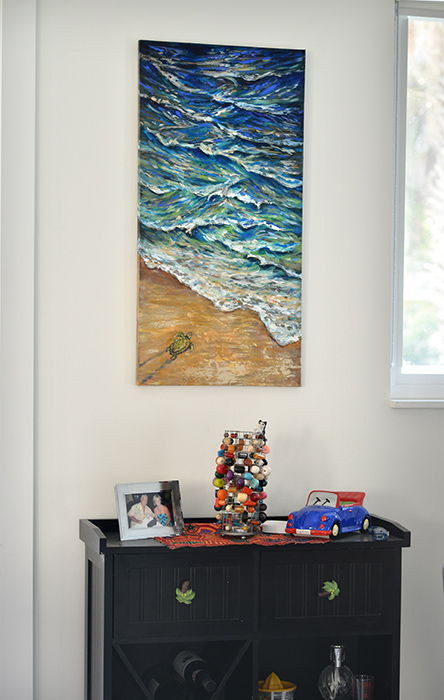 A client who purchased the sea turtle painting displayed it in her dining room. Love it there!
