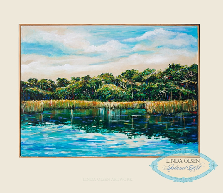 "This painting ""St. Johns River is 31x22 and was painting from a photograph I shot while kayaking. Inquiry at lindaolsenart@gmail.com."