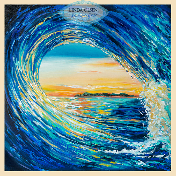 """Sunset Curl was painted several years ago from a commission request but the sale fell through. Recently I revisited it and made several tweaks which really made the painting more vibrant. It is 40x40"" with a wide gallery wrap where the edges are painted an blueish black. 40 x 40 is a great size for most all rooms and being vibrant, would add a cheerful splash of color to a wall."