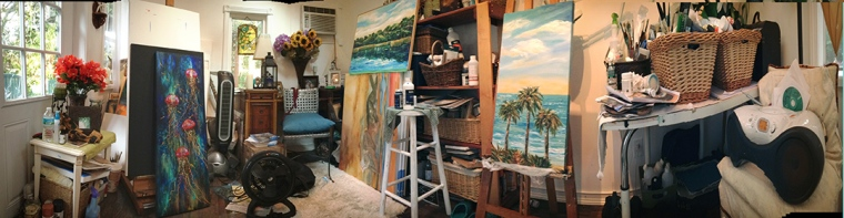 I photographed this scene yesterday while I was working on several paintings and projects. Often, I will sit in the chair and studio my progress on a piece of art, listening to music...and then jump up to make the inspired brush strokes. Ahhh, I love my studio space!!!