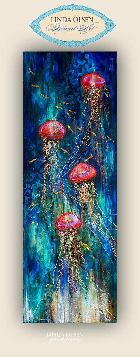 "Linda Altman from Neptune Beach came by and purchased an original painting ""Jellies at the Ball"" and also a large mermaid giclee to give to her sweetie. We are having some huge construction projects forced on us because the side of my office had some old rotten wood which needed to be replaced. This small repair turned out to be a month long huge repair when we discovered that 3 walls needed to have new studs, insulation and hardy board. My sweet husband Nelson has been doing a  great job with this extensive repair all month and we were nearly done when he decided to also replace some roofing boards to do a proper overhang and last Friday, the huge rain came. Even though it was securely covered and all, the rain came through and now the entire ceiling and wall sheetrock needs to be completely redone. Plus the rain was so heavy that it flooded the carpet and will all have to be replaced. So today, I am trying to pack up my entire office, camera gear and furniture to make way for further construction. As the say, when it rains it pours...literally. I am so thankful that some friends have helped by purchasing art from me this week.  I am trying hard not to be overwhelmed and depressed. All month I have escaped to my painting studio to avoid the nail guns and hammers in my office. Thank goodness I am blessed with a husband who can weld a hammer and work with power tools. He is going such a great job...we just had bad luck with the weather and now need to do many more weeks of heavy work."