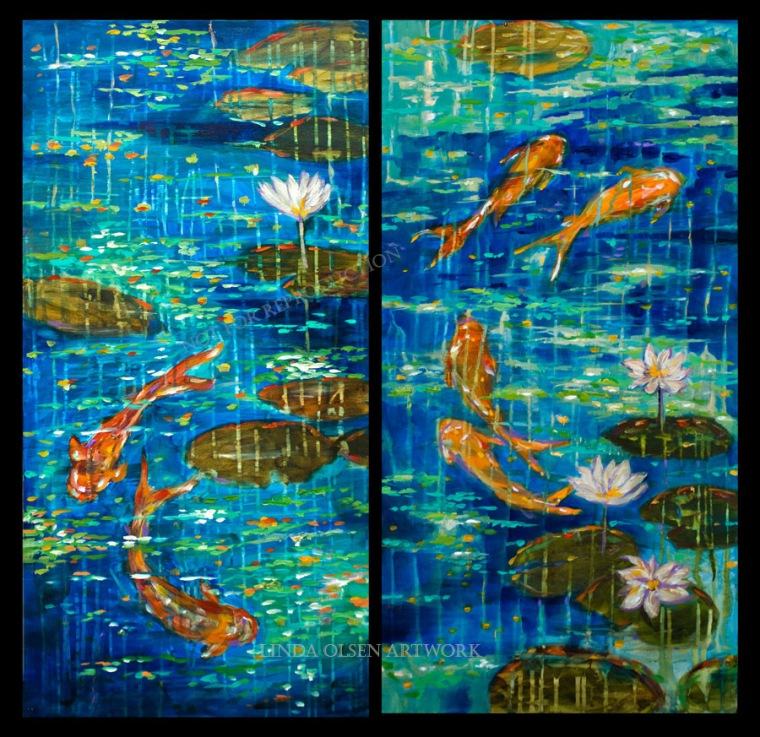 Koi ponds are known for serenity and giving a calming feeling. Over the years, I have done many paintings with this theme. The ones on this post are what I have left and are reduced for an inventory reduction sale. If you or someone you know is interested in freshening up a wall, have them contact me for pricing and information.