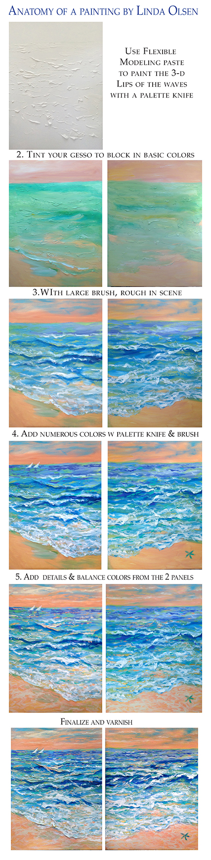 "This is a DYptic painting I have been working on for a couple weeks of an ocean scene. I am actually not completely finished but wanted to share my progress and possibly give a little tutorial for my painting students. SInce each panel is 30x40"", its actually more difficult because of studio space and with matching the two panels for a nice transition. Palette Knife takes a lot of paint which gets quite expensive so I start with the modeling paste to give more 3-dimensionality. AT first I thought the peach sky and sand was too much color but there are a lot of vibrant dabs of color throughout so now I am re assessing. Opinions?"
