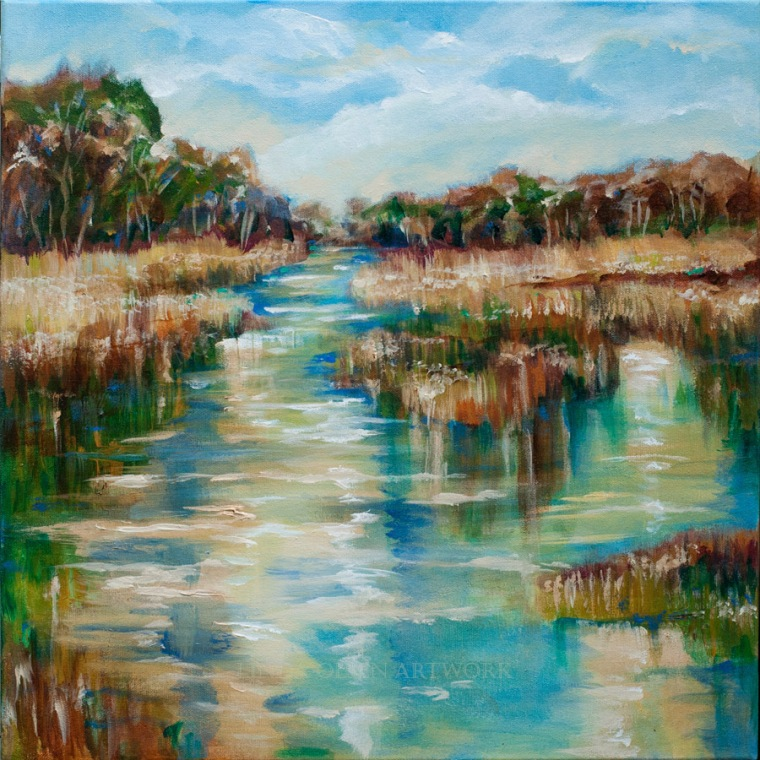 "This painting called ""River Reflection"" is 20x20x2"" and is showing the southern landscape. I love kayaking through the river tides along the marsh grasses with my husband and friends. I am thinking about painting a larger version of this since 20x20 is rather small."